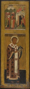 024 icon depicting Entry in Jerusalem + John Chrysostymos