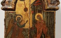 Greek triptych icon: Triptych with theme The Annunciation
