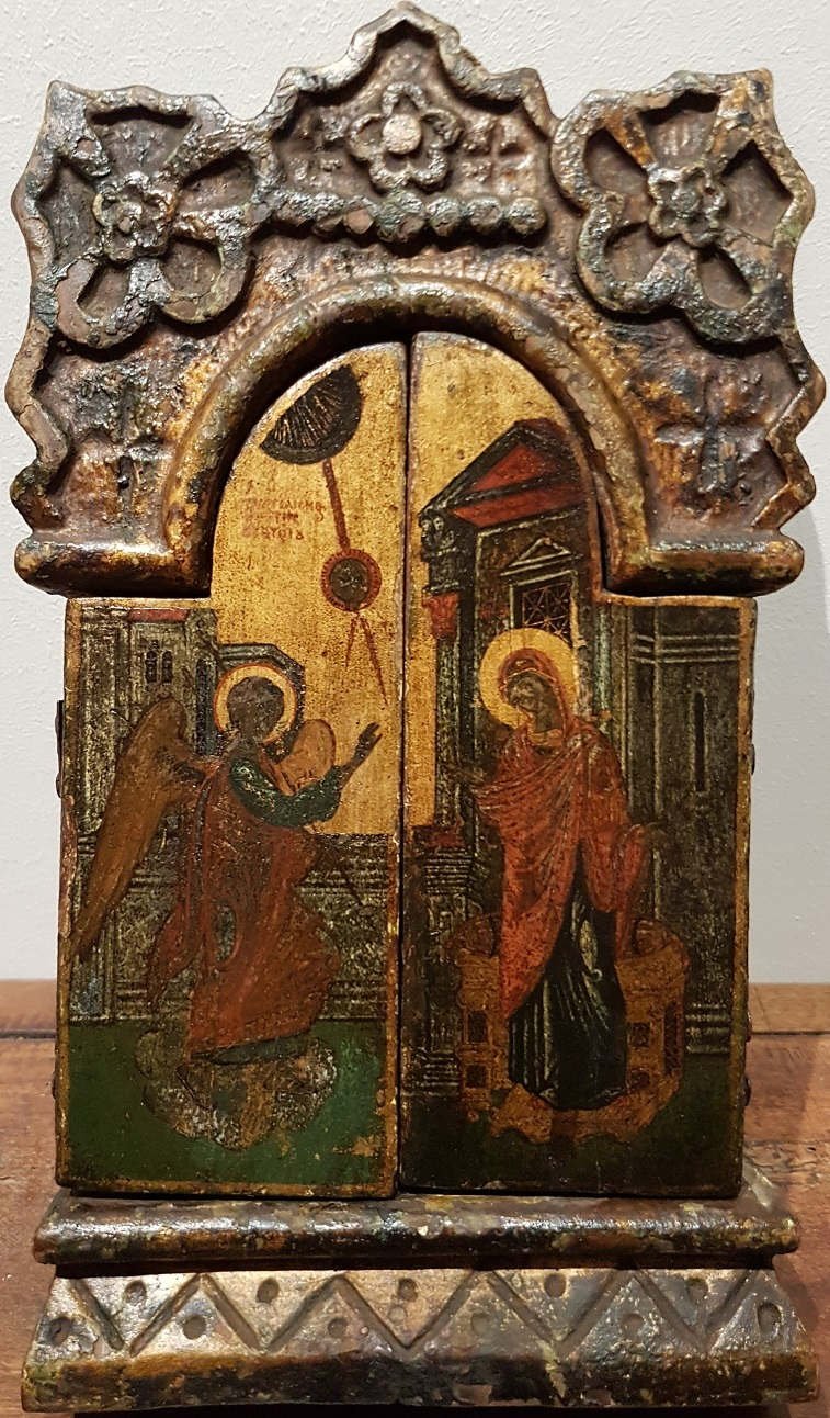 Greek icons: Triptych with theme The Annunciation
