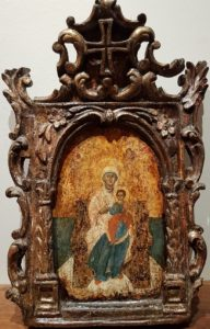 Virgin Enthroned in carved frame 18th century