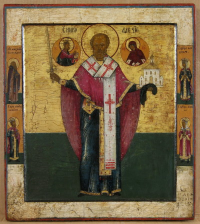 8A RUSSIAN ICON DEPICTING SAINT NICOLAS THE SAVIOR OF MOZAISK