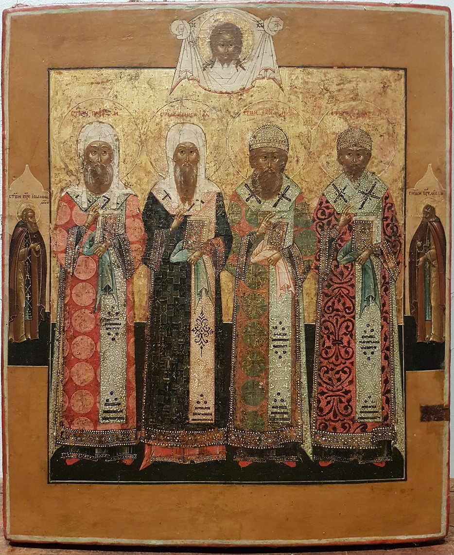 Russian wooden icon depicting four Holy Patriarchs of Moscow circa 1800