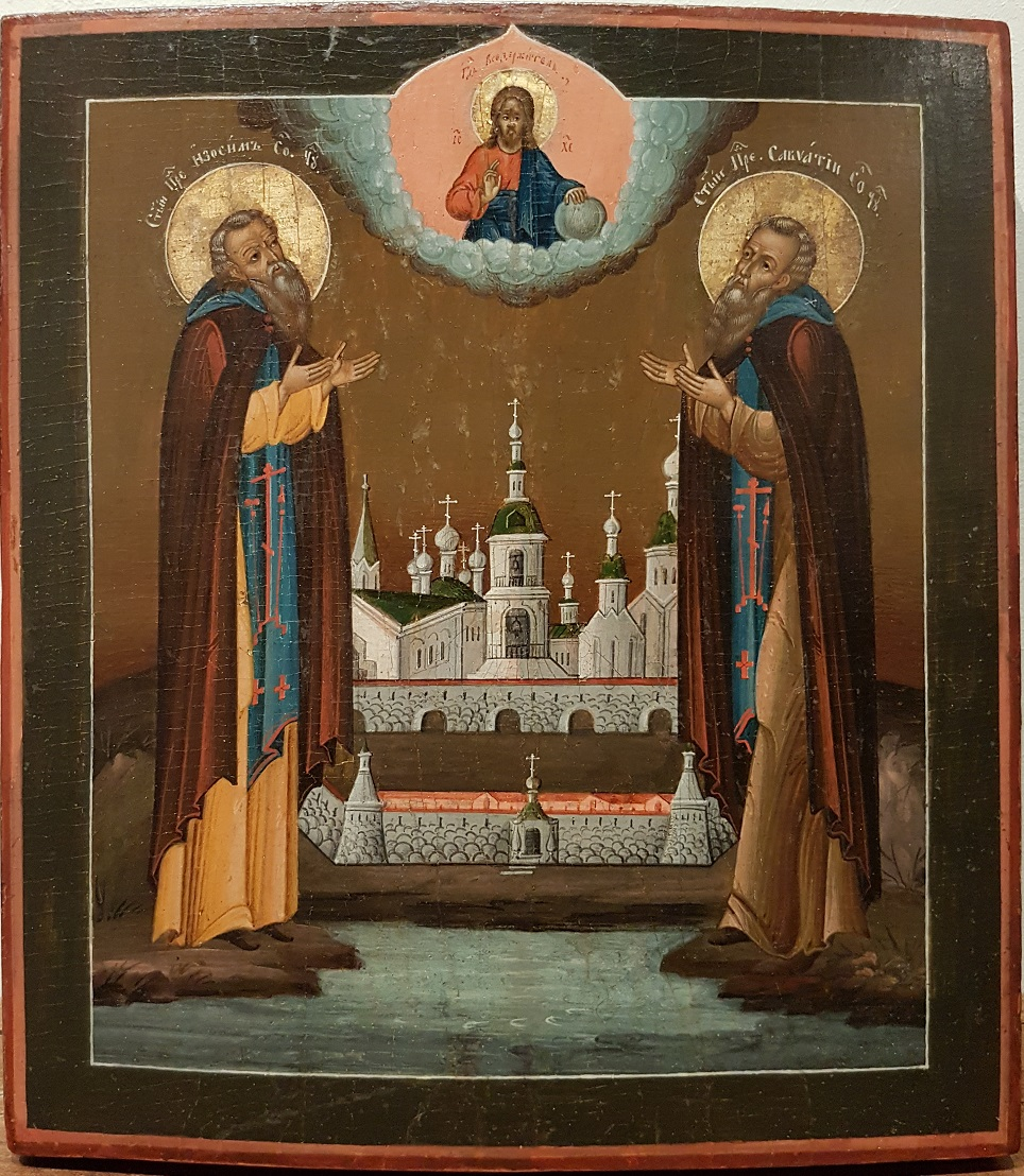 Russian wooden icon depicting the Monastry founders SS. Zosima and Swataj with a model of the Solowetski monastery