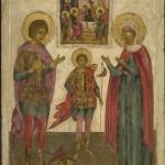 Oude Russische houten ikonen, IMG_5115 The Three Saints