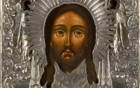 Russian wooden icon with silver rizza