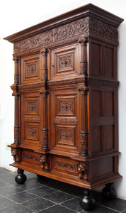 The second one of a pair of massive oak cupboards