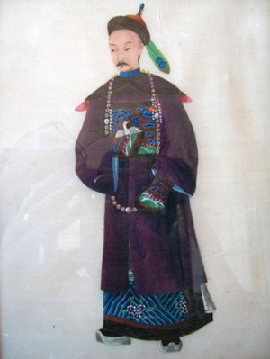 No 158 – Chinese Pit Paper Painting Standing Dignitary Qing Dynasty (1644-1911)