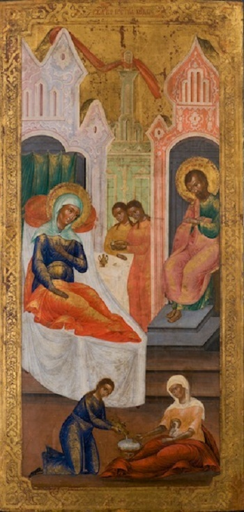 Antique Russian Icon - Birth of the Virgin