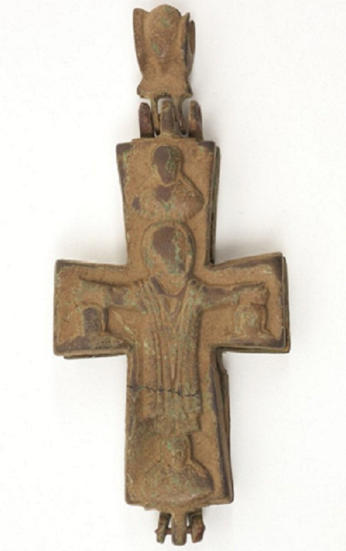 Antique Greek icons BYZANTINE BRONZE ENCOLPION CROSS
